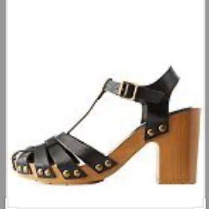 Leather studded T strap fisherman heeled sandal